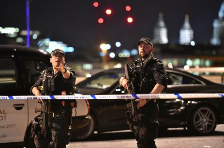 "Incident at London Bridge. Armed Police officers on London Bridge as police are dealing with a ""major incident"" at London Bridge. Picture date: Saturday June 3, 2017. See PA story POLICE Bridge. Photo credit should read: Dominic Lipinski/PA Wire URN:31559198"