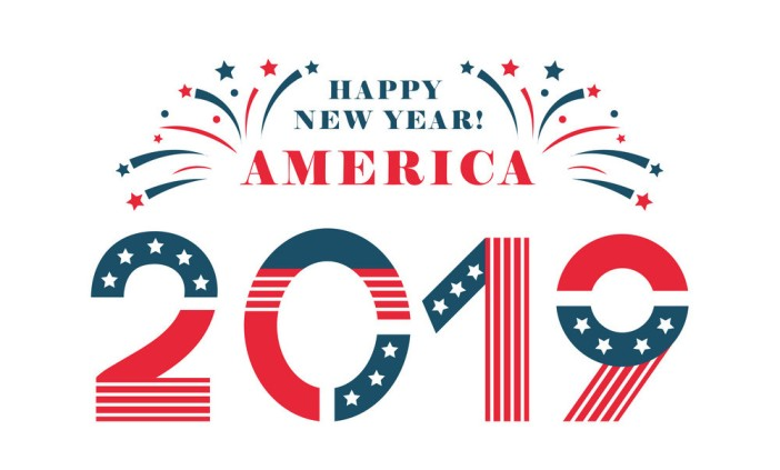 Happy New Year America. 2019 Letters in national flag design