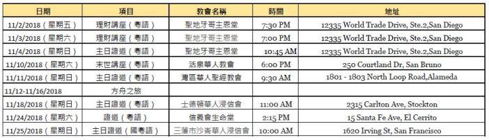 Nov 2018 Schedule