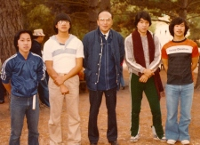 Pastor Wing and baptism candidates 1980